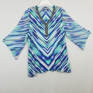Blue Beaded Printed 3/4 Sleeve V Neck Top